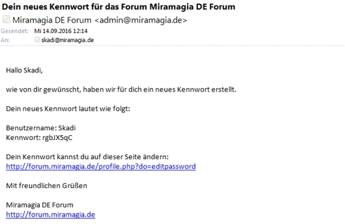 email neues pw